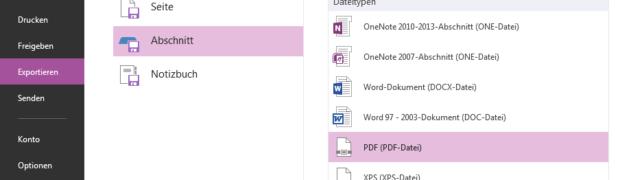 Microsoft OneNote: Drucken eines ganzen Abschnitts